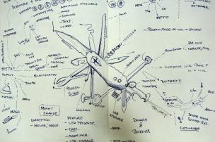 Open Army Knife Sketch
